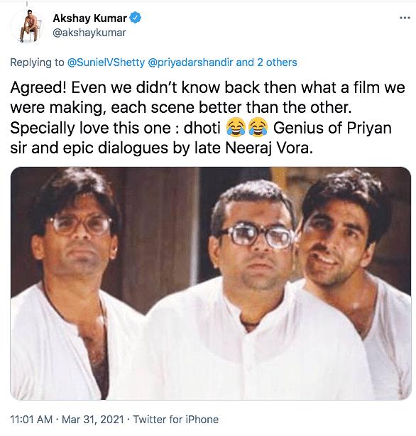 Suniel, Akshay Get Nostalgic as 'Hera Pheri' Clocks 21 Years