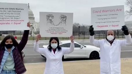 The frontline healthcare workers in green card backlog held a demonstration in front of the US Capitol.