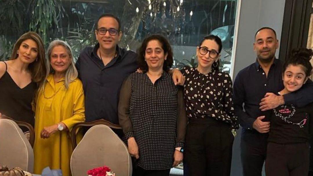 "<div class=""paragraphs""><p>Karisma Kapoor with Nikhil Nanda, Jaya Bachchan, Riddhima Kapoor Sahni &amp; others.</p></div>"