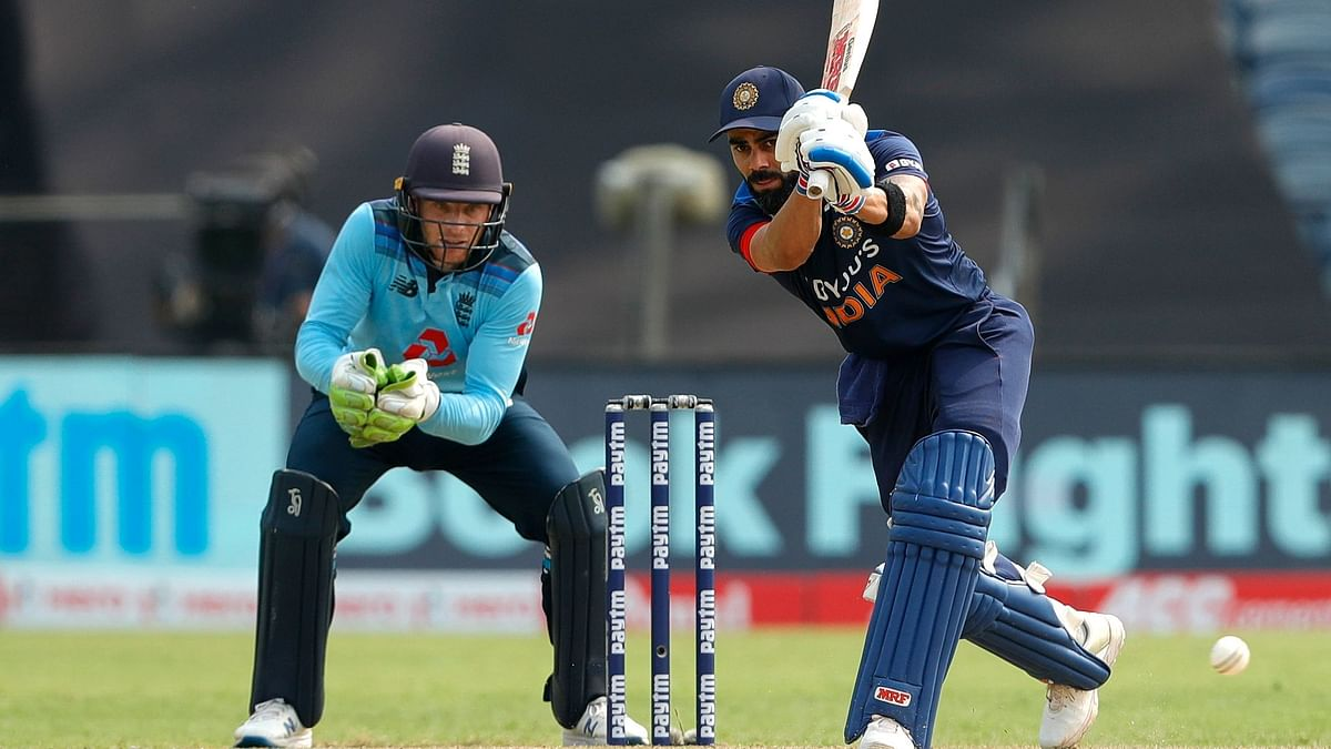 Virat Kohli batting during the first ODI against England in Pune
