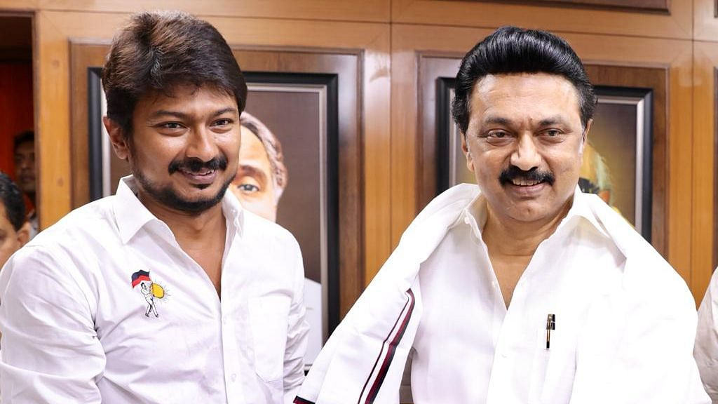 DMK President MK Stalin (right) with his son Udhayanidhi Stalin.