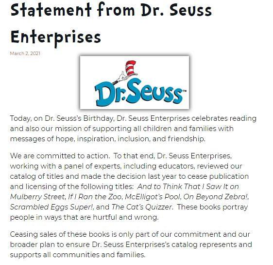 Dr. Seuss Enterprises's official statement