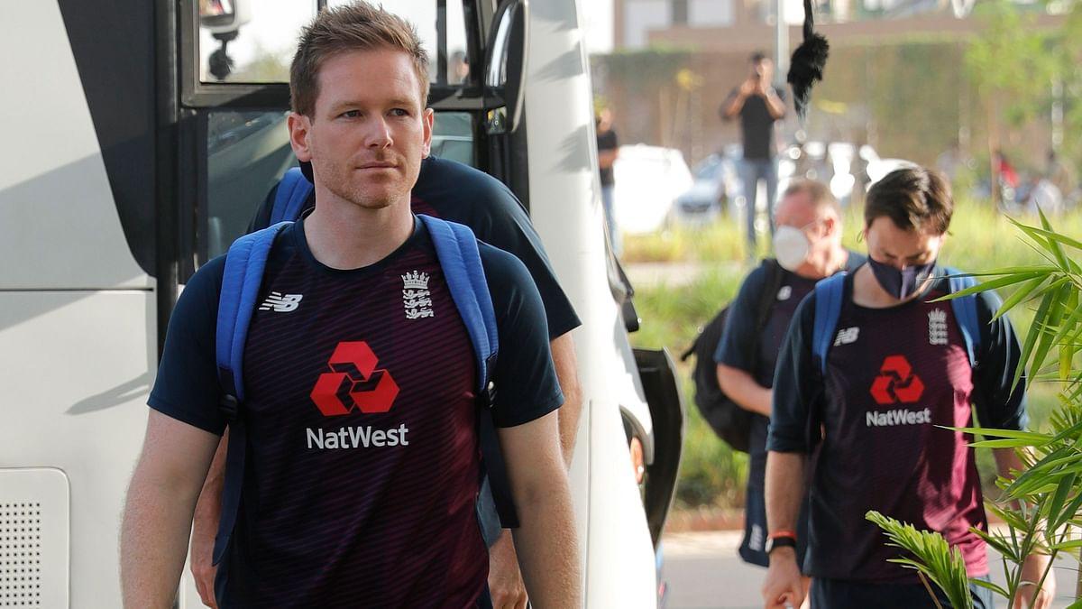 Eoin Morgan walking into the Narendra Modi Stadium for the 2nd T20I