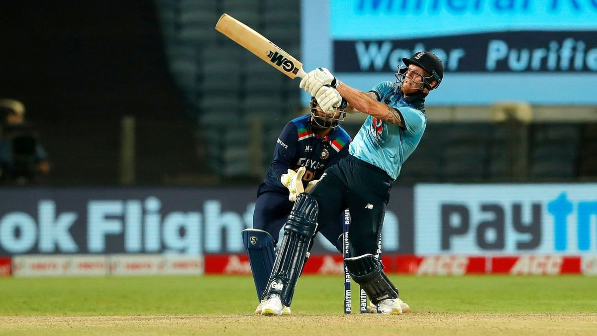 Ben Stokes on the attack during the 2nd ODI against India.