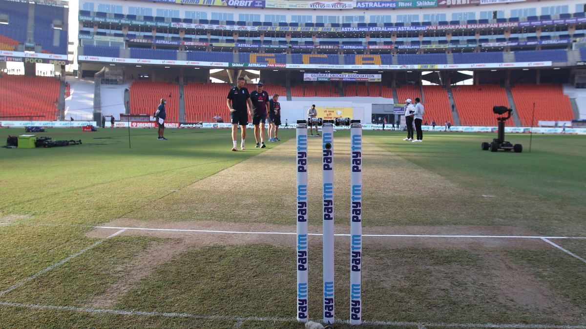 The pitch at the Narendra Modi stadium