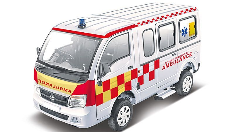 Tata Magic Express Ambulance comes with  essential equipment including an auto-loading stretcher, medical cabinet, etc. Image used for representation purpose.