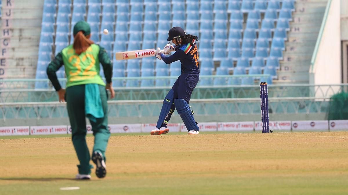 Smriti Mandhana during her unbeaten 80 in the second ODI.