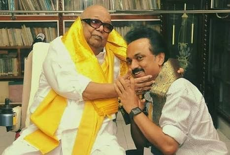 DMK veteran leader Karunanidhi with his son MK Stalin