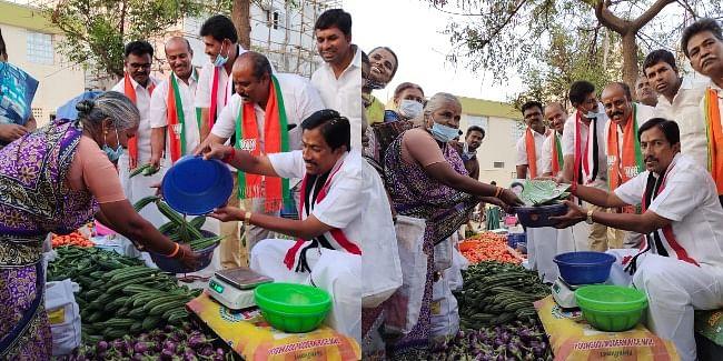 KR Jayaram sells vegetables.