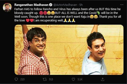 Madhavan Tweets He's COVID Positive, References '3 Idiots'