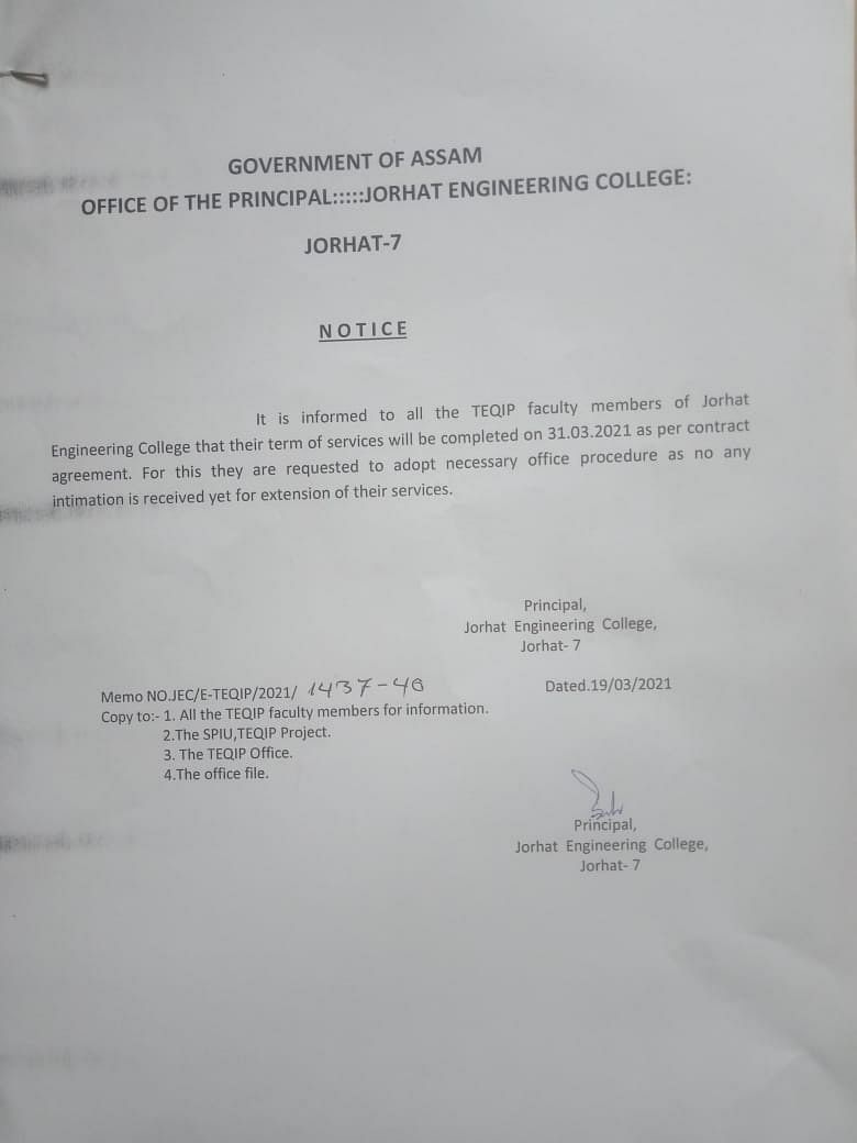 Termination notice to TEQIP faculty members at Jorhat Engineering College in Assam