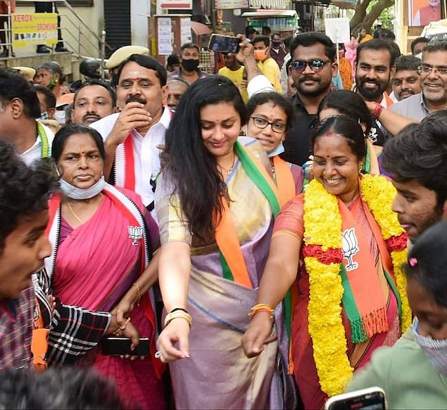 Actor Namitha, who is BJP Tamil Nadu's state executive member, campaigned for Vanathi Srinivasan in Covai South.