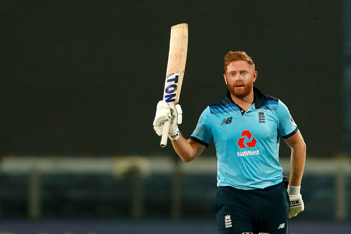 Jonny Bairstow of England celebrates after scoring a hundred during the 2nd One Day International match between India and England held at the Maharashtra Cricket Association Stadium, Pune, India on the 26th March 2021