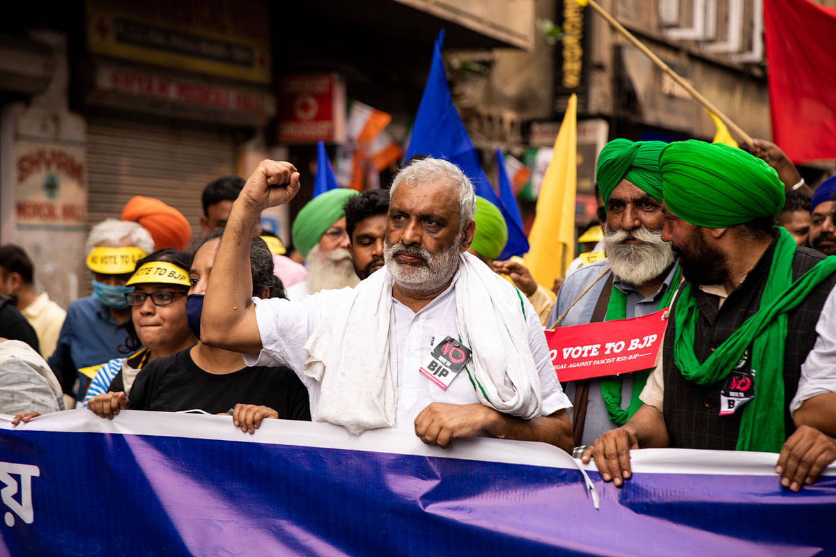 Suresh Koth raises a slogan