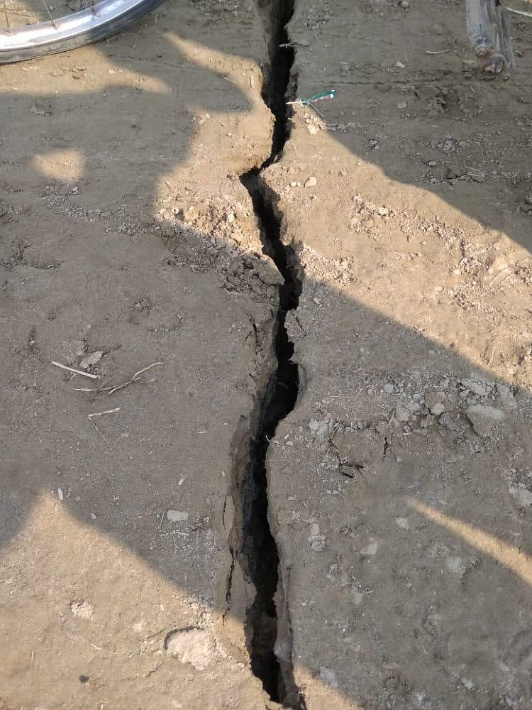 A crack in the ground caused by the earthquake.