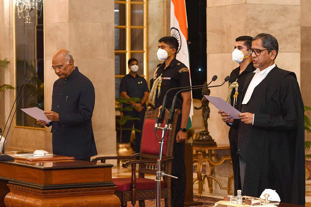 CJI Ramana was administered the oath by President Ram Nath Kovind, at Rashtrapati Bhavan.