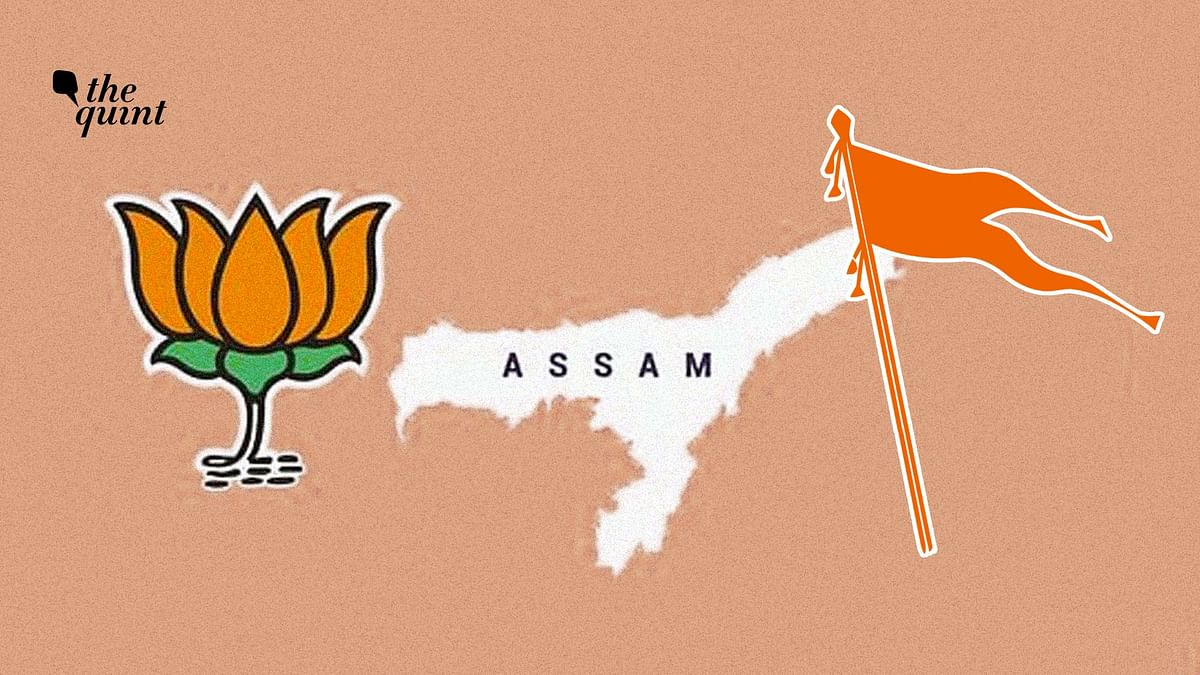 Image of the BJP & RSS's symbols and the Assam map used for representational purposes.