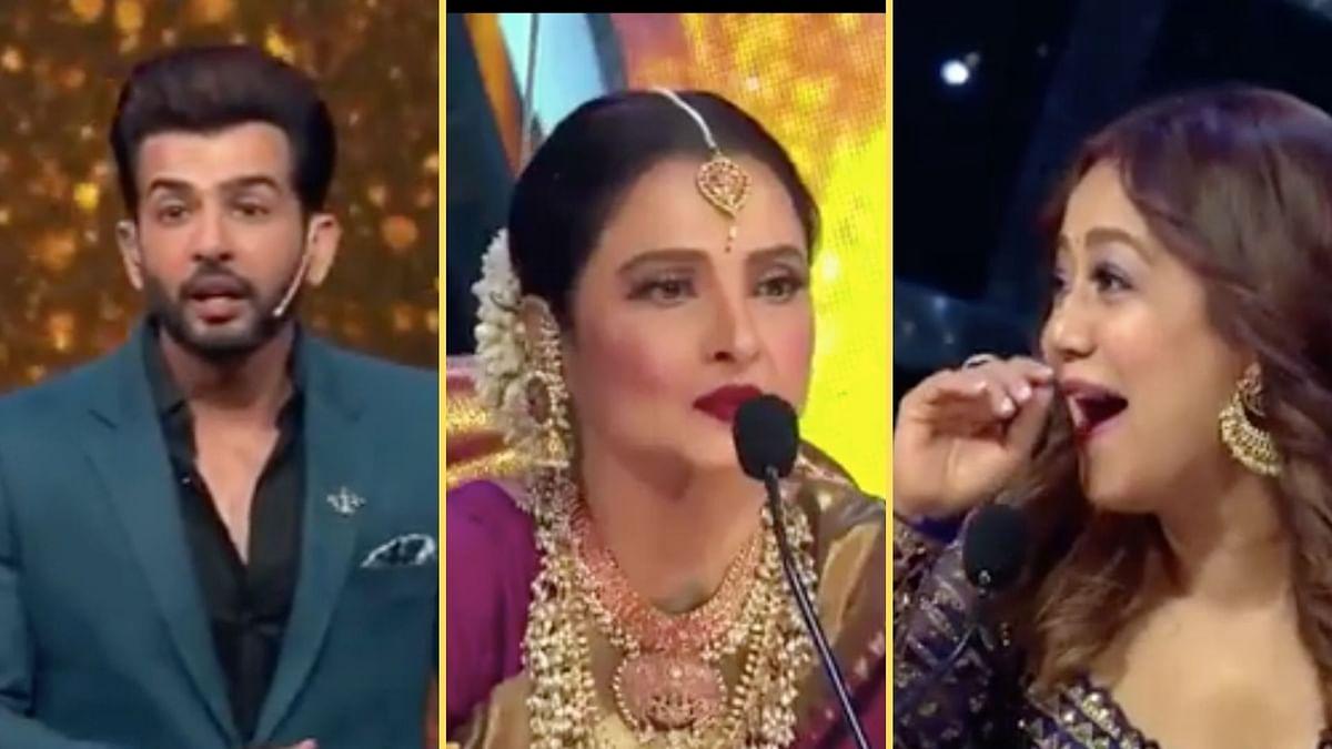 "<div class=""paragraphs""><p>Jay Bhanushali, Rekha and Neha Kakkar in an episode of Indian Idol 12.</p></div>"