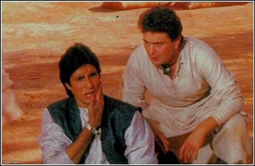 """<div class=""""paragraphs""""><p>Amitabh Bachchan and Rishi Kapoor on the sets of Ajooba.</p></div>"""
