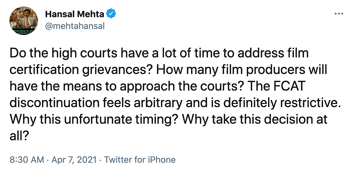 "<div class=""paragraphs""><p>Filmmaker Hansal Mehta's thoughts on abolition of FCAT.</p></div>"