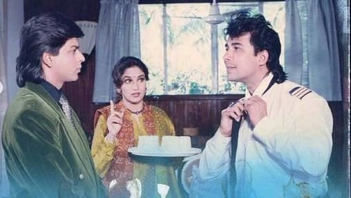 "<div class=""paragraphs""><p>Shah Rukh Khan, Madhuri Dixit, and Deepak Tijori in 'Anjaam'</p></div>"