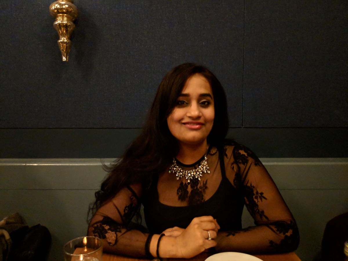 """<div class=""""paragraphs""""><p>Swati Batra in a black lace dress and a necklace bought from a boutique of Poshmark</p></div>"""