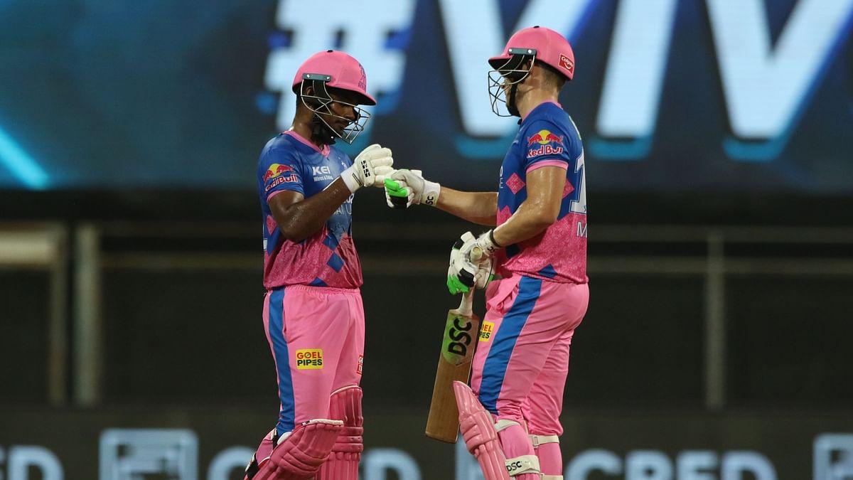 Sanju Samson and David Miller celebrate after the captain hit the winning runs against KKR.