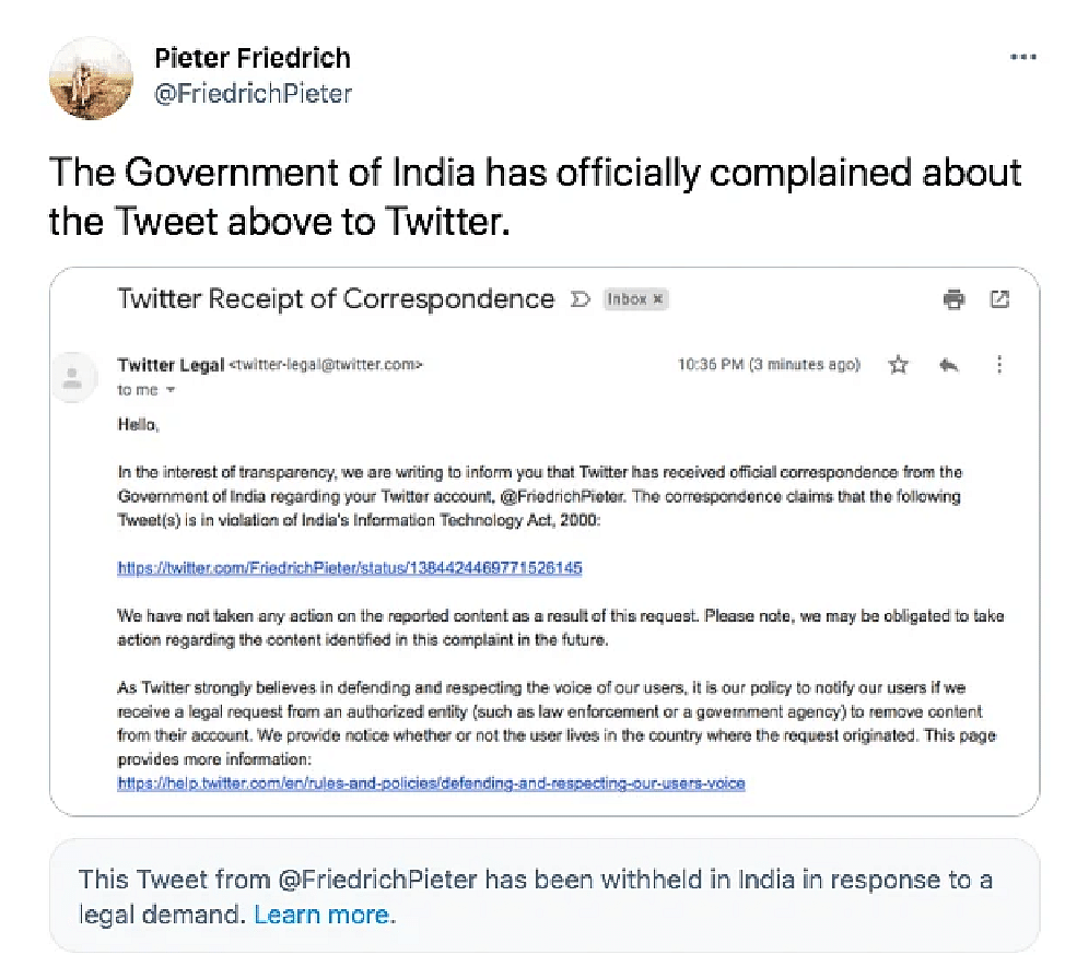 In the latest Twitter censorship row, on Saturday, 24 April, the government of India asked the social media giant to take down 50 tweets that criticised the Modi government's handling of the COVID-19 crisis.