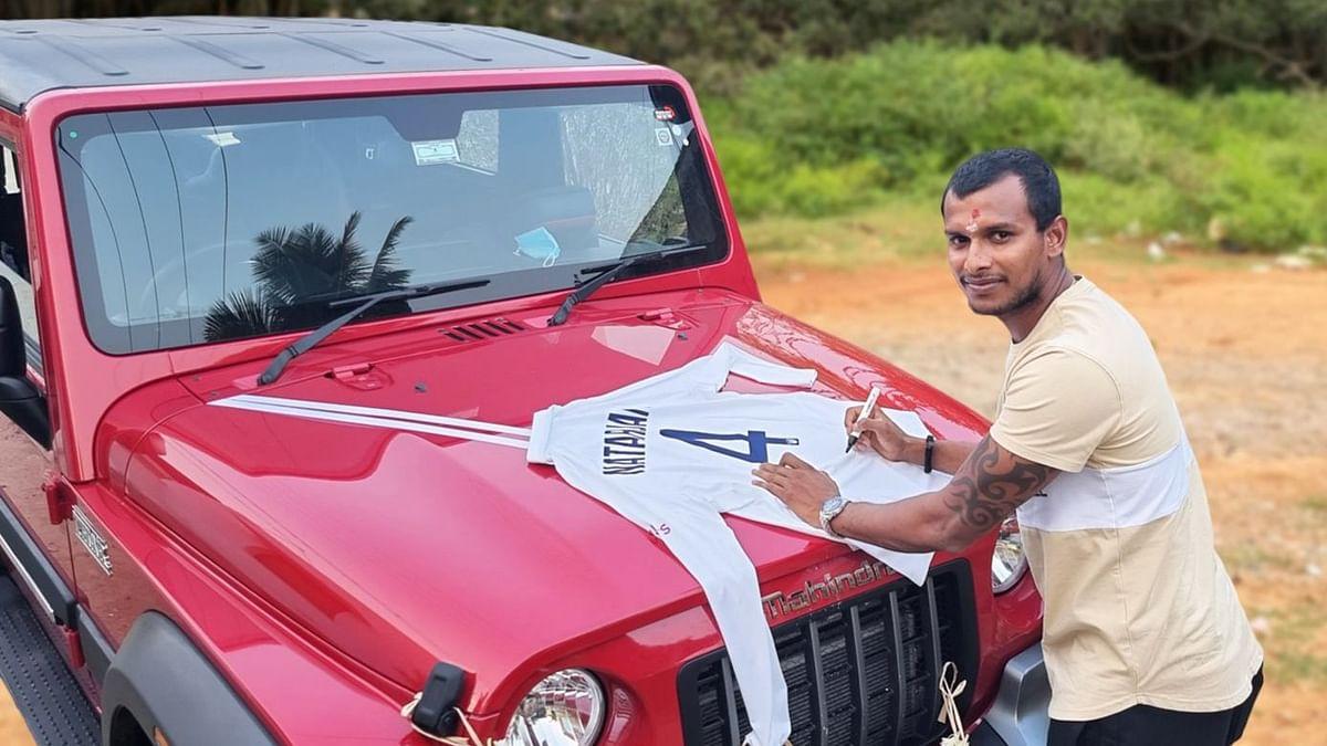 T Natarajan received a Thar SUV from Anand Mahindra
