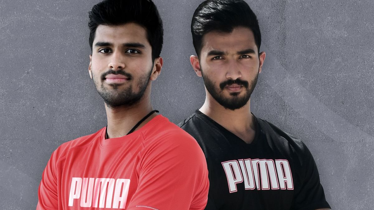 Washington Sundar and Devdutt Padikkal during a photoshoot with PUMA.