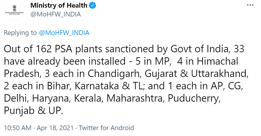 No, Centre Did Not 'Allocate' Funds for Oxygen Plants to States