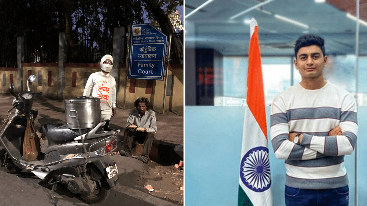 """<div class=""""paragraphs""""><p>(Left) Man offering Langar to the homeless; (Right) Krishiv Teckchandani, who donated his golf prize money to fund vaccination drive.</p></div>"""