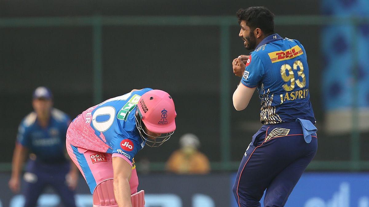 Jasprit Bumrah takes the catch of Shivam Dube.
