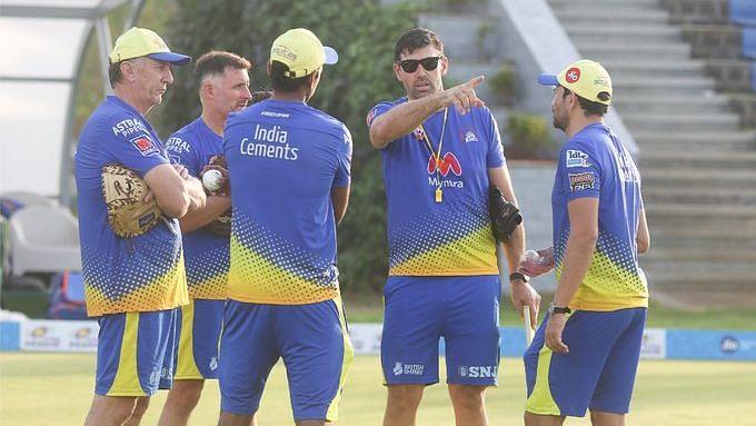 Chennai Super Kings in a training session in Mumbai