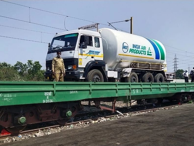 "The first ""Oxygen Express"" train with seven tankers of medical oxygen reached Maharashtra's Nagpur on Friday evening.  Image used for representation purpose."