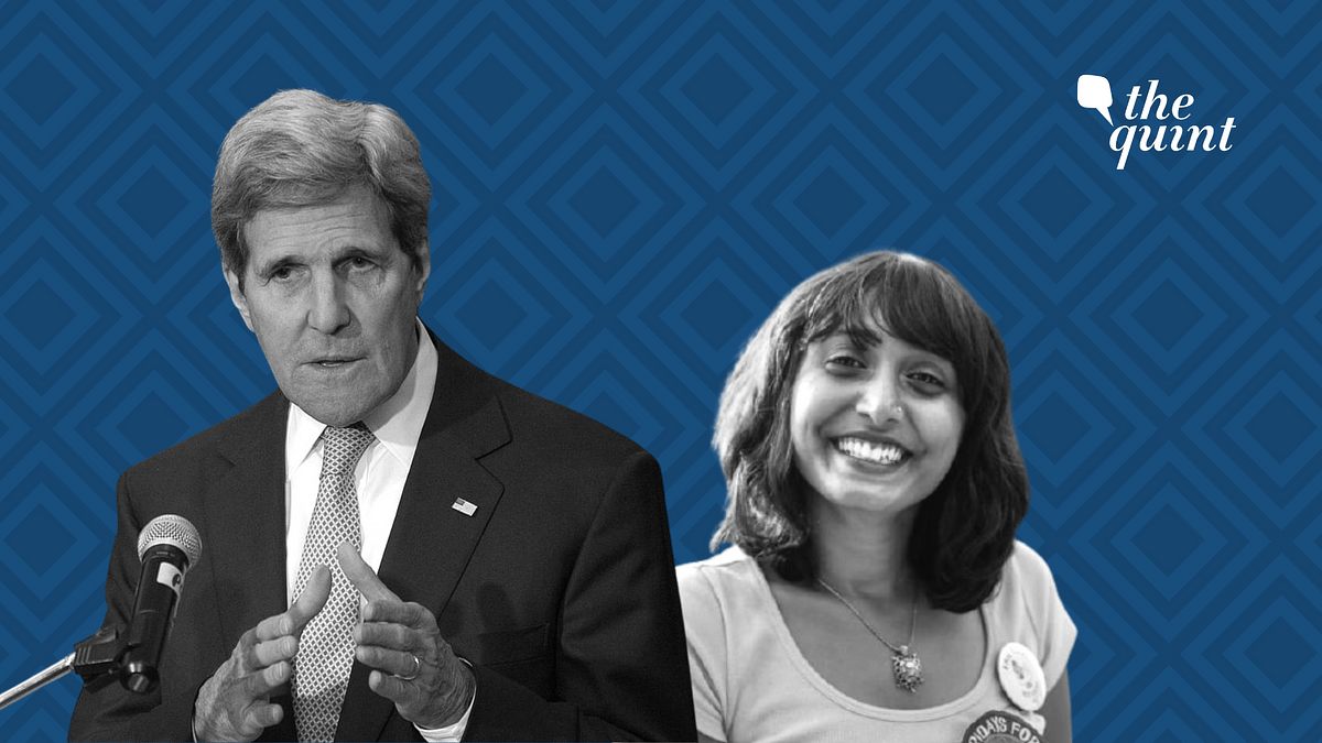 US Special Envoy for Climate John Kerry (left), Climate activist Disha Ravi (right)