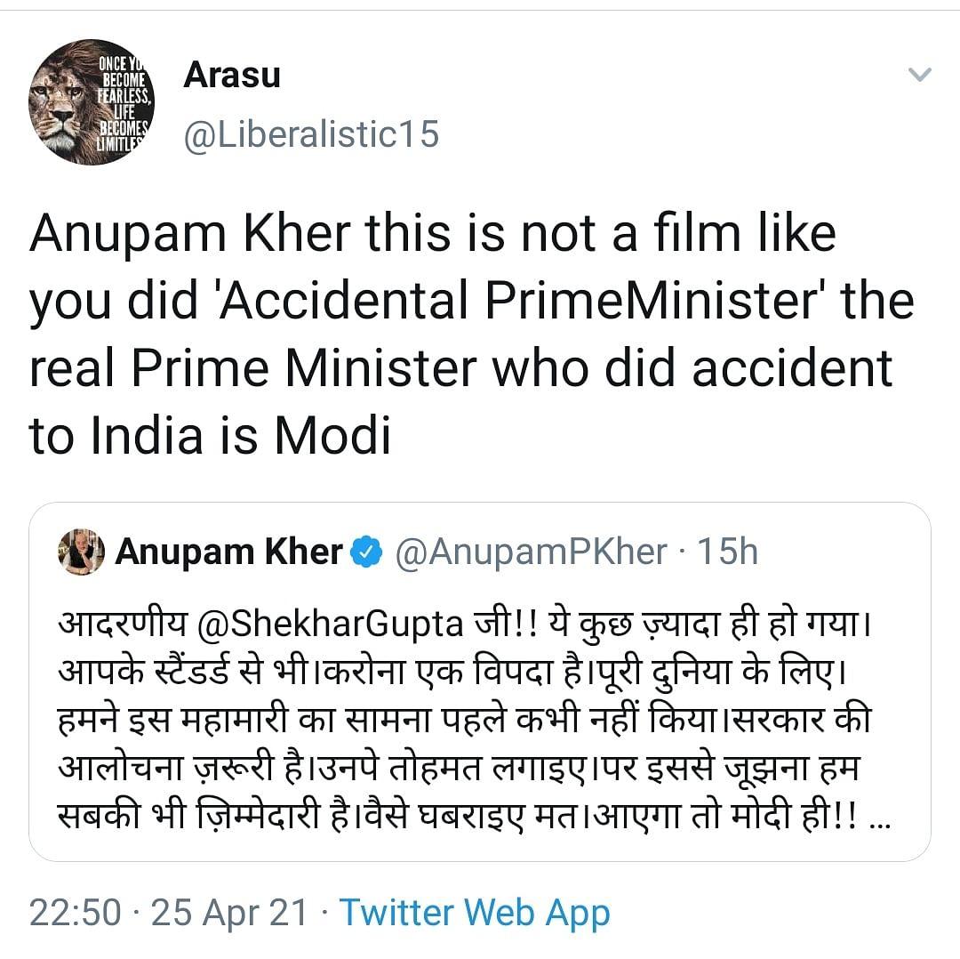 Aayega Modi Hi: Anupam Kher Irks Netizens Amidst Second Wave