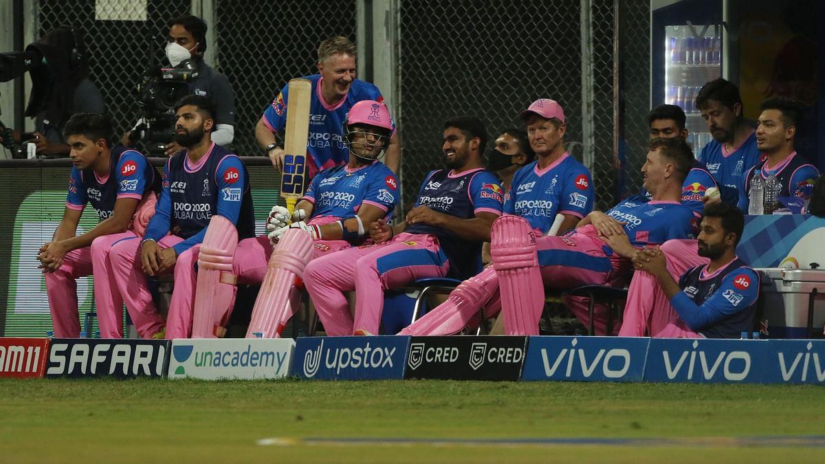 Rajasthan Royals dugout against KKR.