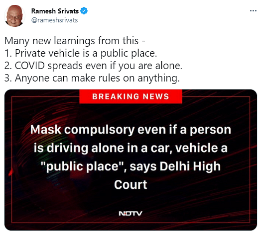 New Rule of Wearing Mask While Alone in Car Gains Criticism Online