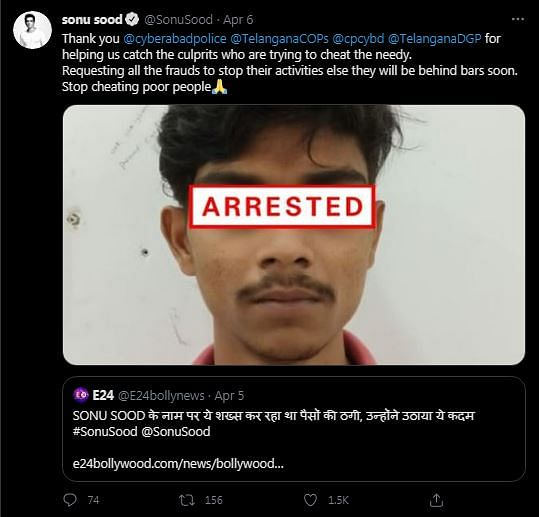 Sonu Sood Thanks Police for Arresting Fraudster Who Used His Name