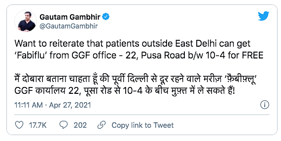 Does Gautam Gambhir Have Licence to Procure Fabiflu, asks Delhi HC