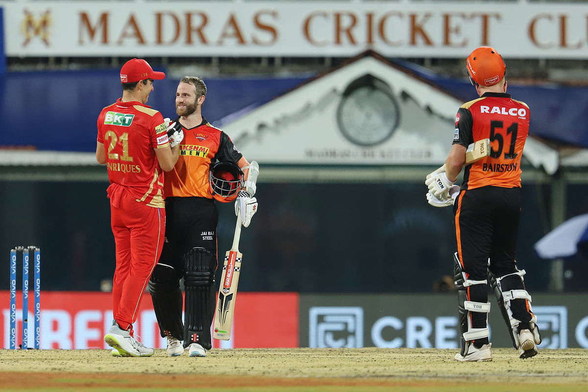 Kane Williamson of Sunrisers Hyderabad and Moises Henriques of Punjab Kings greet each other after match 14 of the Vivo Indian Premier League 2021.