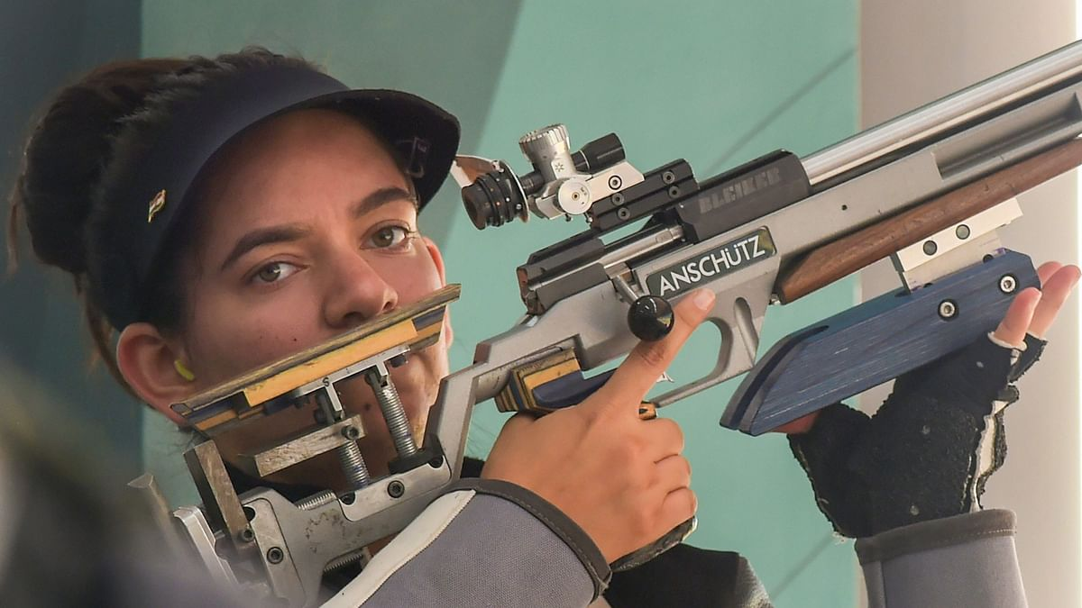 Shooter Anjum Moudgil competes in the Women's 50m rifle 3 positions (3x40) event during the 18th Asian Games 2018 at Palembang in Indonesia.