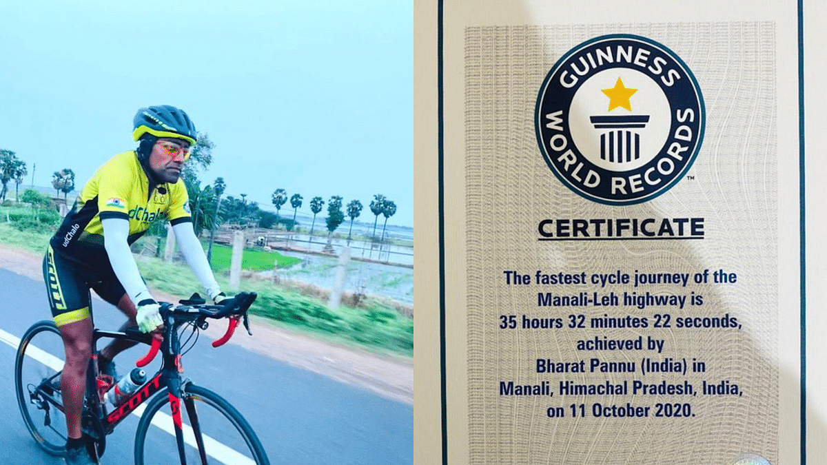 """<div class=""""paragraphs""""><p>Lieutenant Colonel Bharat Pannu breaks two records for solo cycling.</p></div>"""