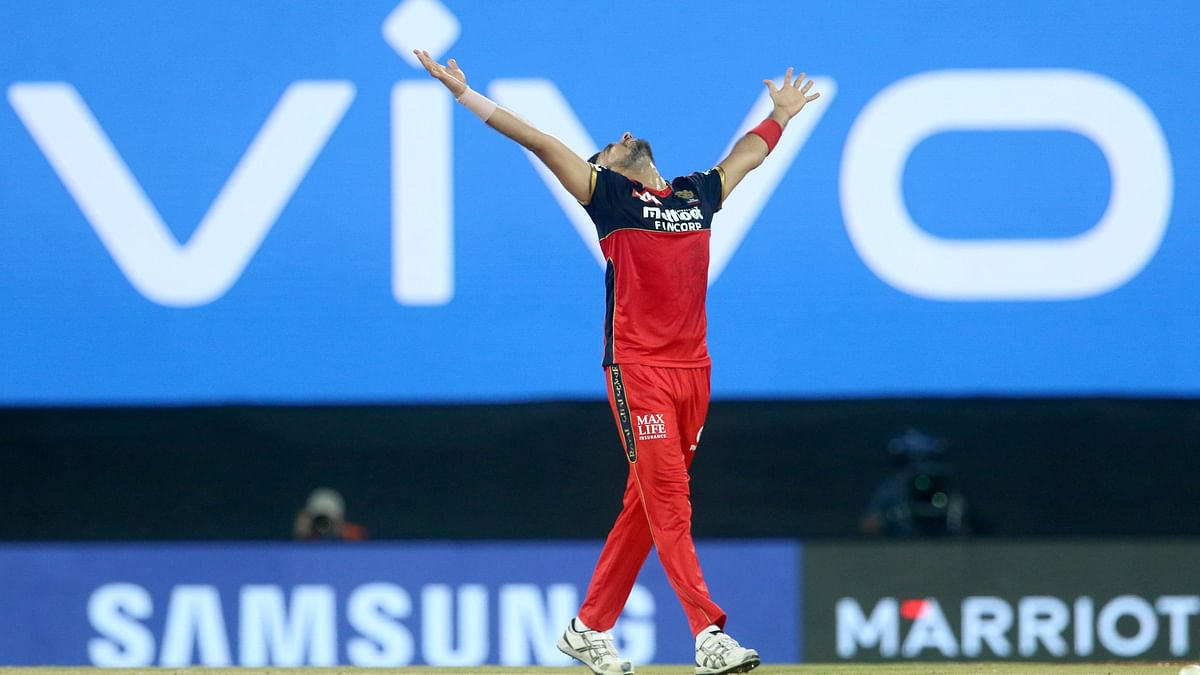 Harshal Patel finished with 5/27 against Mumbai Indians.