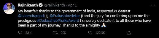Rajinikanth Pens Thank You Note After Dadasaheb Phalke Award