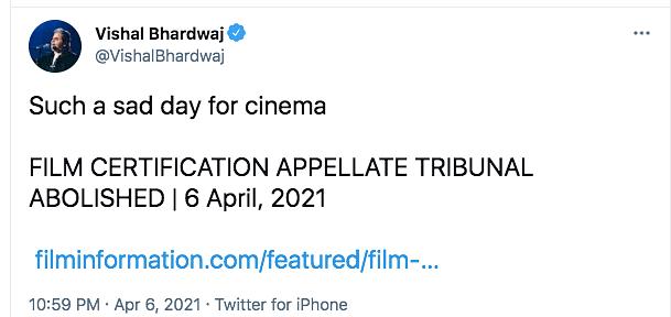 Vishal Bhardwaj on Film Certification Appellate Tribunal Abolition