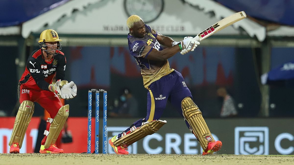 Andre Russell on the attack against RCB in Chennai.