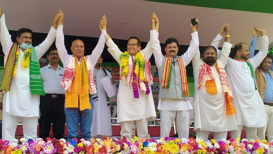 Mohilary and Congress leader Gaurav Gogoi campaigning for AIUDF candidate Nijanur Rehman in Gauripur