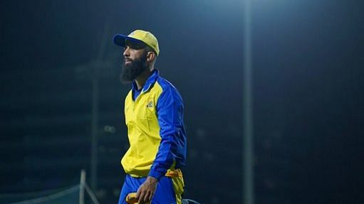 Moeen Ali at a training session with Chennai Super Kings ahead of IPL 2021.